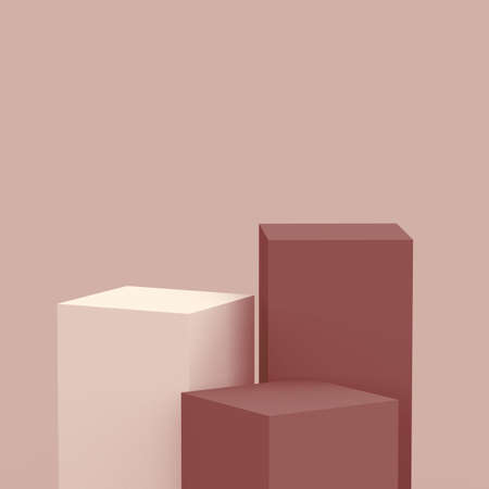 3d brown cubes square podium minimal studio background. Abstract 3d geometric shape object illustration render. Display for cosmetic perfume fashion product. Natural color tones.