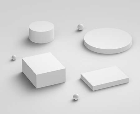 3d white gray  podium minimal studio background. Abstract 3d geometric shape object illustration render. Display for cosmetics and beauty fashion product. Banque d'images
