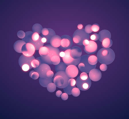 3d pink light glow lamps ball in heart shape on purple color background. Abstract 3d isolated rendering concept valentines day. Banque d'images