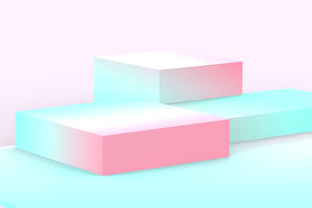 3d blue pink cubes gradient colors in soft pastel minimal studio background. Abstract 3d geometric shape object illustration render. Display for summer holiday product. Banque d'images
