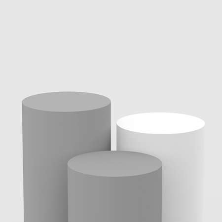 3d gray white cylinder podium minimal studio background. Abstract 3d geometric shape object illustration render. Display for cosmetic perfume fashion product.