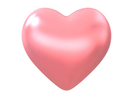 Pink heart glossy shape isolated on white background with clipping path. Object.