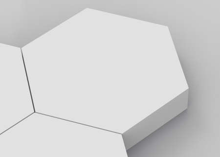 3d white gray hexagon podium minimal studio background. Abstract 3d geometric shape object illustration render. Display for cosmetics and beauty fashion product.