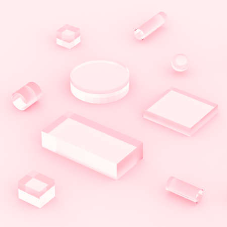3d pink rose pastel minimal studio background. Abstract 3d geometric shape object illustration render.  Display for cosmetics and beauty fashion product.