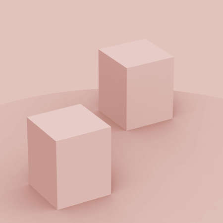 3d dusty pink cube and box podium minimal scene studio background. Abstract 3d geometric shape object illustration render. Natural color tones.