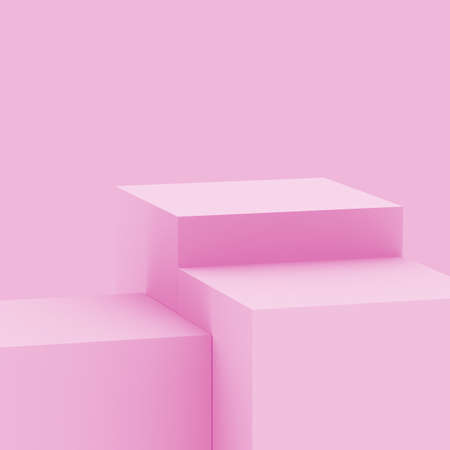 3d pink sweet stage podium scene minimal studio background. Abstract 3d geometric shape object illustration render. Display for cosmetic fashion and valentine product.