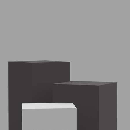 3d gray and white black cubes square podium minimal studio background. Abstract 3d geometric shape object illustration render.Display for product business online.