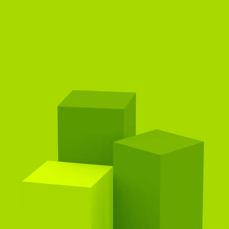 3d green cubes square podium minimal studio background. Abstract 3d geometric shape object illustration render. Display for food natural product.