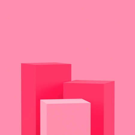 3d pink cubes square podium minimal studio background. Abstract 3d geometric shape object illustration render. Display for valentine product. Banque d'images