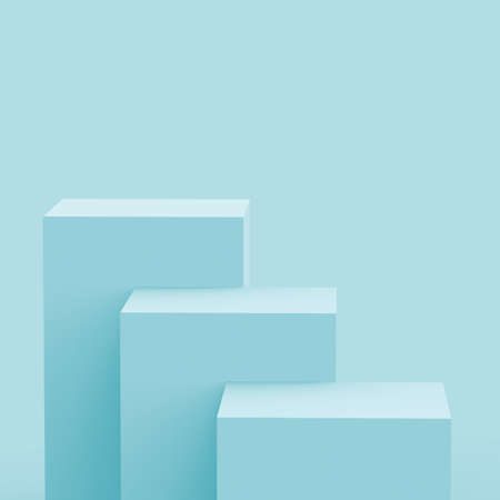 3d blue bright stage podium scene minimal studio background. Abstract 3d geometric shape object illustration render. Display for technology and  medical business and summer holiday product.