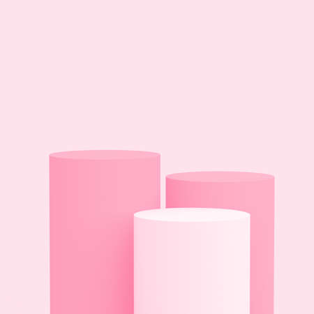 3d white pink rose cylinder podium minimal studio background. Abstract 3d pastel color geometric shape object illustration render. Display for cosmetic perfume fashion product.