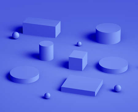 3d royal blue and purple platform minimal studio background. Abstract 3d geometric shape object illustration render.  Display for cosmetics and beauty fashion product. Banque d'images
