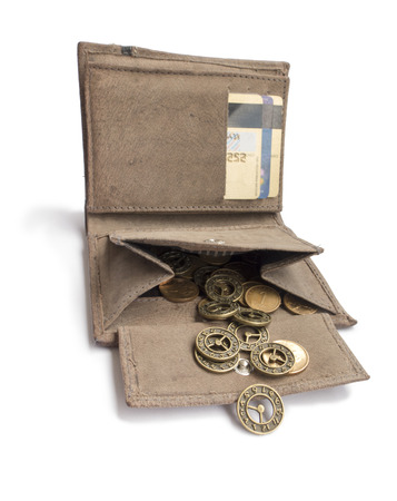 allegory: A purse with coins and a clock . Allegory of time management