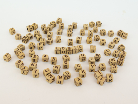 lock block: Visualization LOGIC, the background is about education, learning, knowledge, books and information Stock Photo