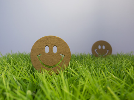 entertaining: Faces smiling on a green lawn, entertaining childrens background