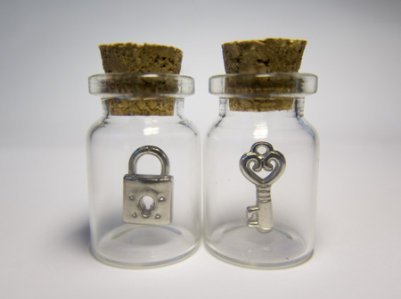 lock and key: transparent envelope with key and lock