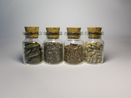 flasks: Four flasks with a super food