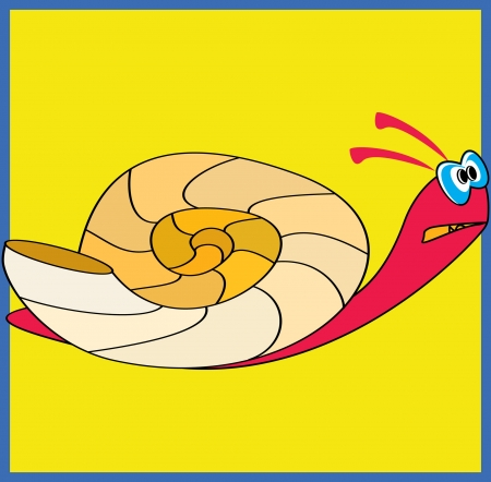 Colorful snail on yellow background Stock Vector - 15729150