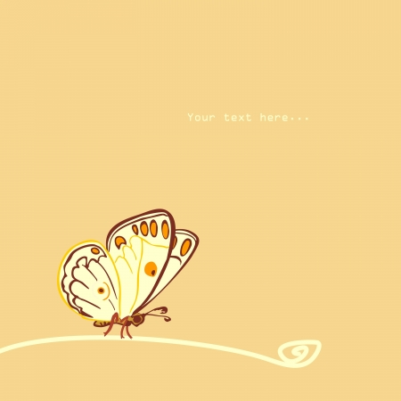 Butterfly sitting on a branch Illustration