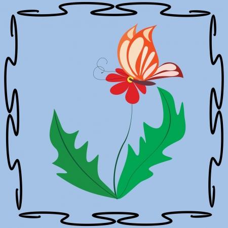 Red butterfly on flower - pattern