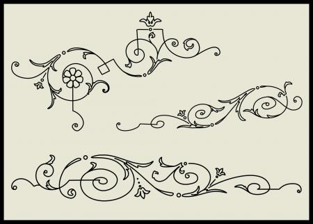 Set of three calligraphic design elements Illustration