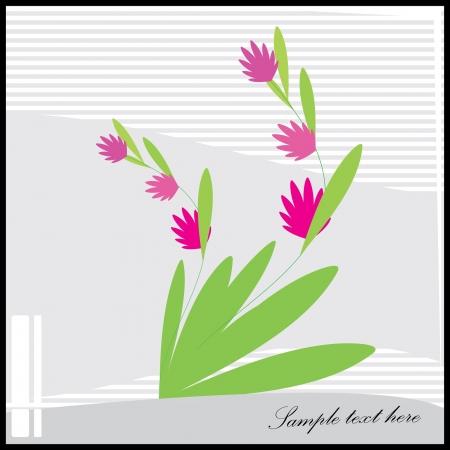 Decorative flowers on gray background - postcard Illustration