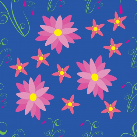 Pink flowers on blue background - seamless pattern