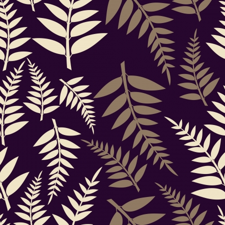 Decorative leafs on blue background - seamless pattern Vector