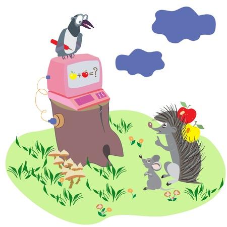 mink: Cartoon illustration with animals