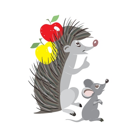 Funny cartoon hedgehog and mouse, isolated on white background Stock Vector - 15773420