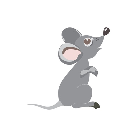 Cute little mouse cartoon, isolated on white background