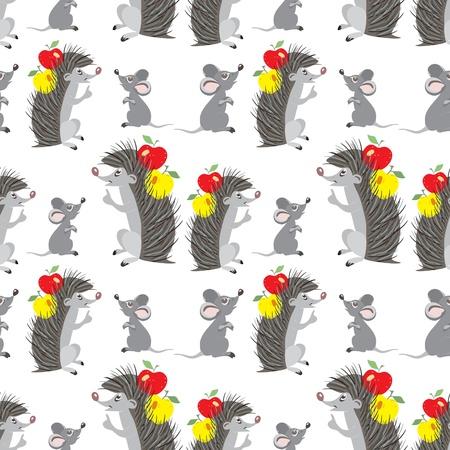 h�risson cartoon: Funny cartoon h�risson et de la souris - seamless pattern