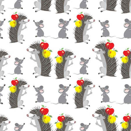 Funny cartoon hedgehog and mouse - seamless pattern Stock Vector - 15773991