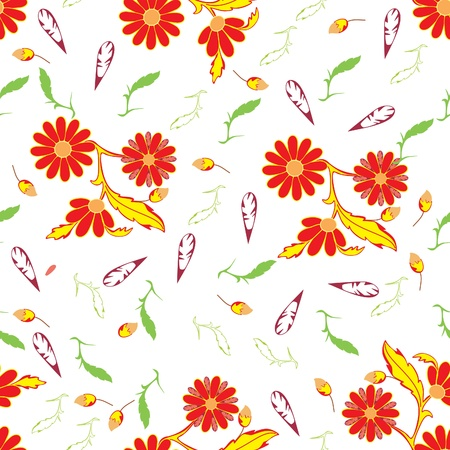 contrasty: Leafs and flowers - seamless pattern Illustration