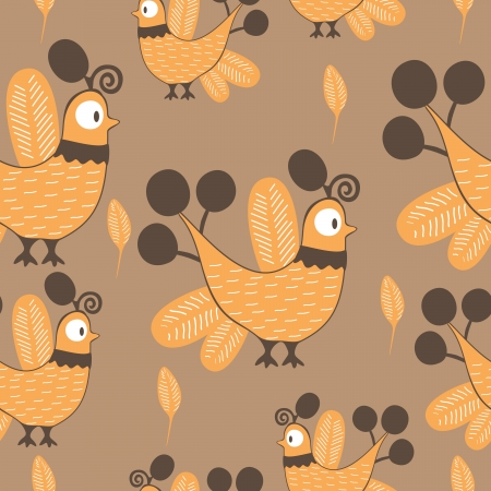 seamless bird pattern Vector