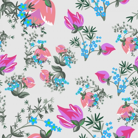 Colorful leafs and flowers - seamless pattern Vector