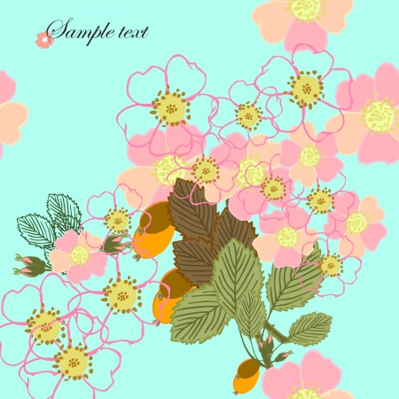 Flowers and leafs - seamless pattern Vector