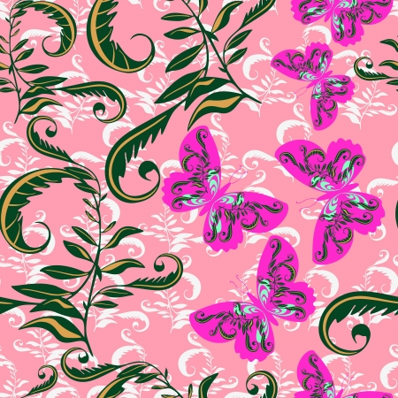 Butterfly with flowers - seamless pattern Vector
