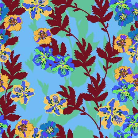 Colorful flowers and leafs - seamless pattern Vector