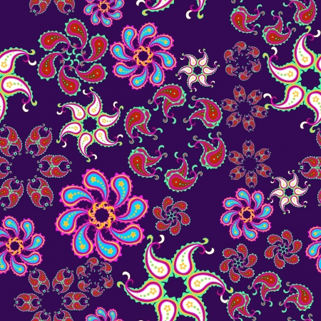 Whimsical floral background  seamless  Vector