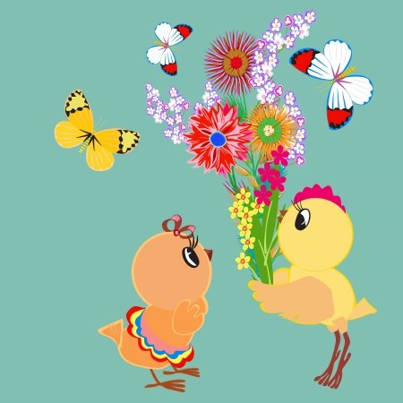 Card with chickens, butterflies and flowers