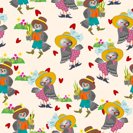 Valentines card with enamoured birdies seamless pattern Vector