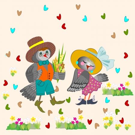 the enamoured:  Valentines card with enamoured birdies  Illustration