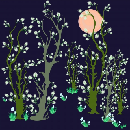 landscape with blooming spring tree with flowers  Illustration
