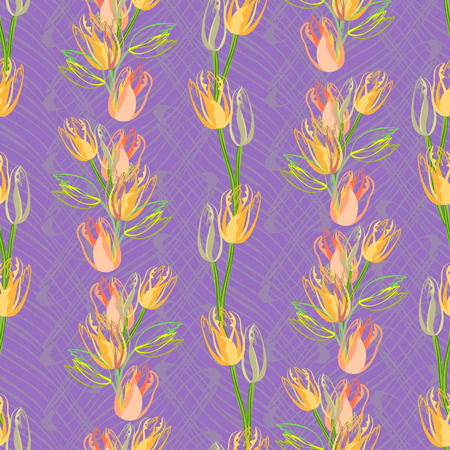 beautiful spring seamless pattern with  tulips  Illustration