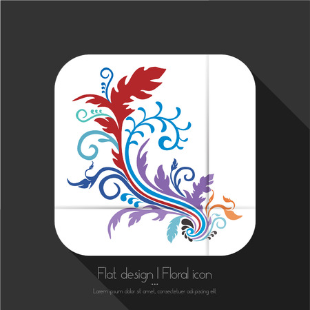 Flat floral icon Illustration