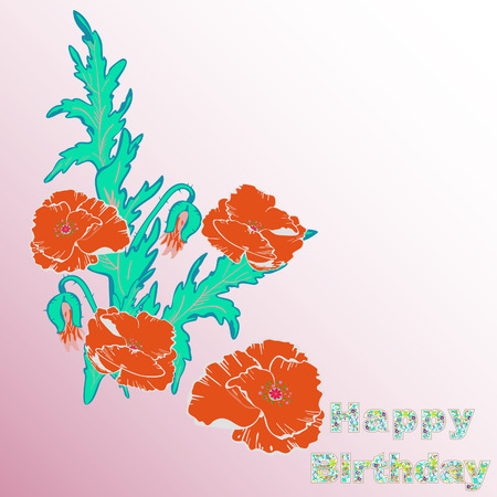 Floral card, illustration