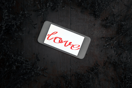 single word: Word of love in smart phone and dry flower on old desk