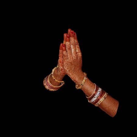 Hands combined to say welcome Namaste in indian tredition Stok Fotoğraf - 137888973