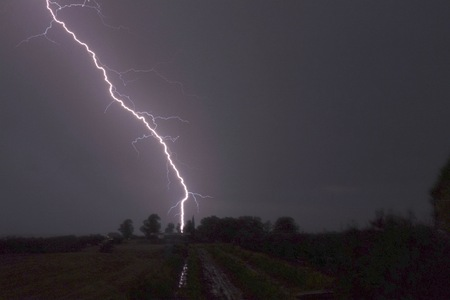 lightning in the countryside